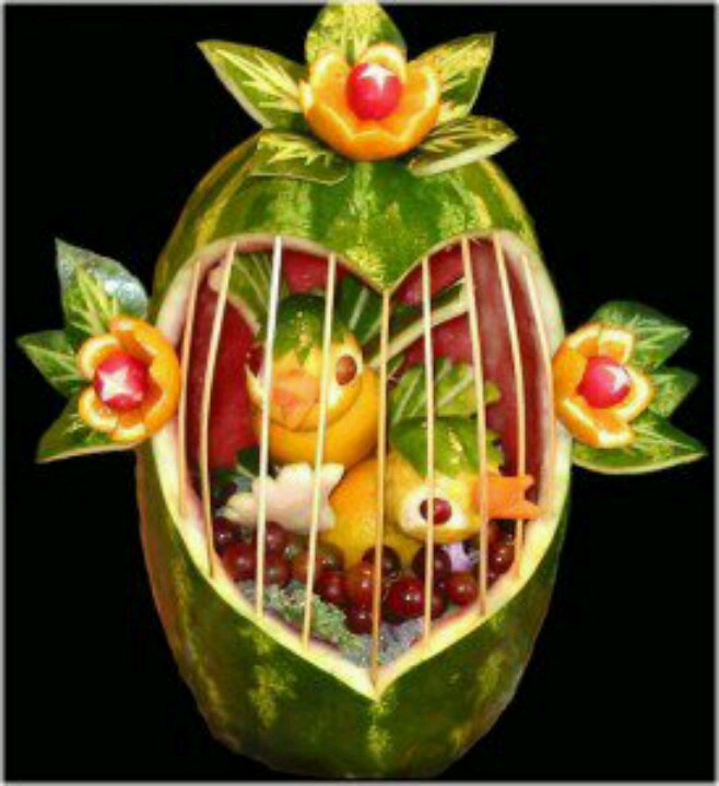 Watermelon bird cage creative ways eat kids pinterest