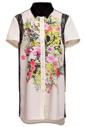 White Short Sleeve Contrast Floral Chiffon Blouse 105