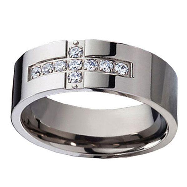 Personalized 8MM Titanium Shiny Cross CZ Men 39 S Wedding Bands Ring Sz