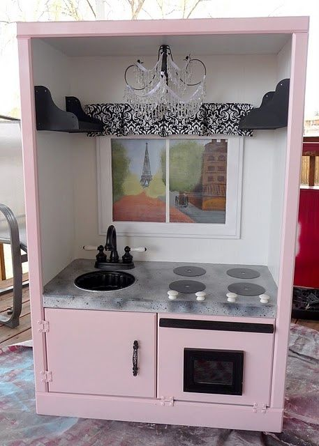 Before After Entertainment Center Turned French Play Kitchen Twi