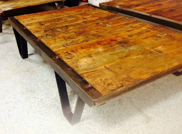 Vintage Industrial Railroad Warehouse Factory Cart Coffee Table