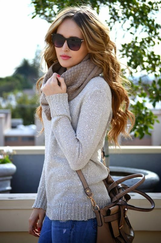 Grey sweater and loop scarf