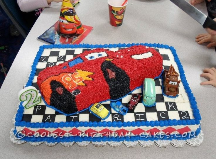 Birthday Cake Designs For A 2 Year Old Boy : Cool Cars Cake for a 2 Year Old Boy