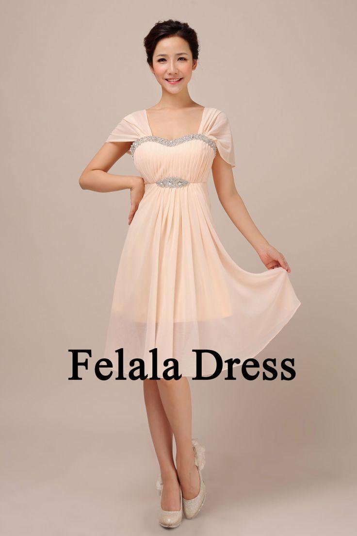 Bridesmaid dress short blush evening dress short prom for Short blush pink wedding dresses