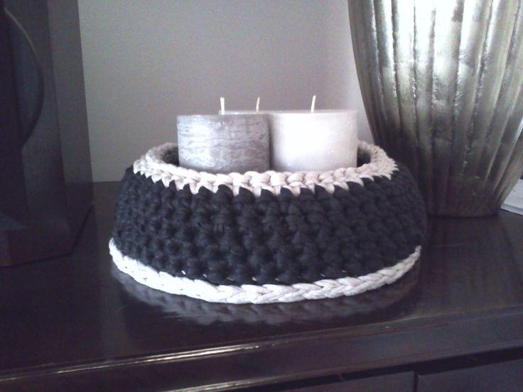 cesto de trapillo ideal, para decorar con unas velas
