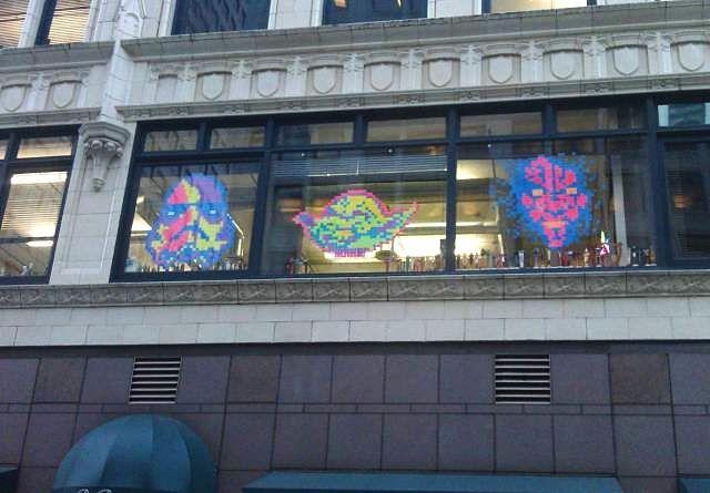 Star Wars post-it window art. So much Force.