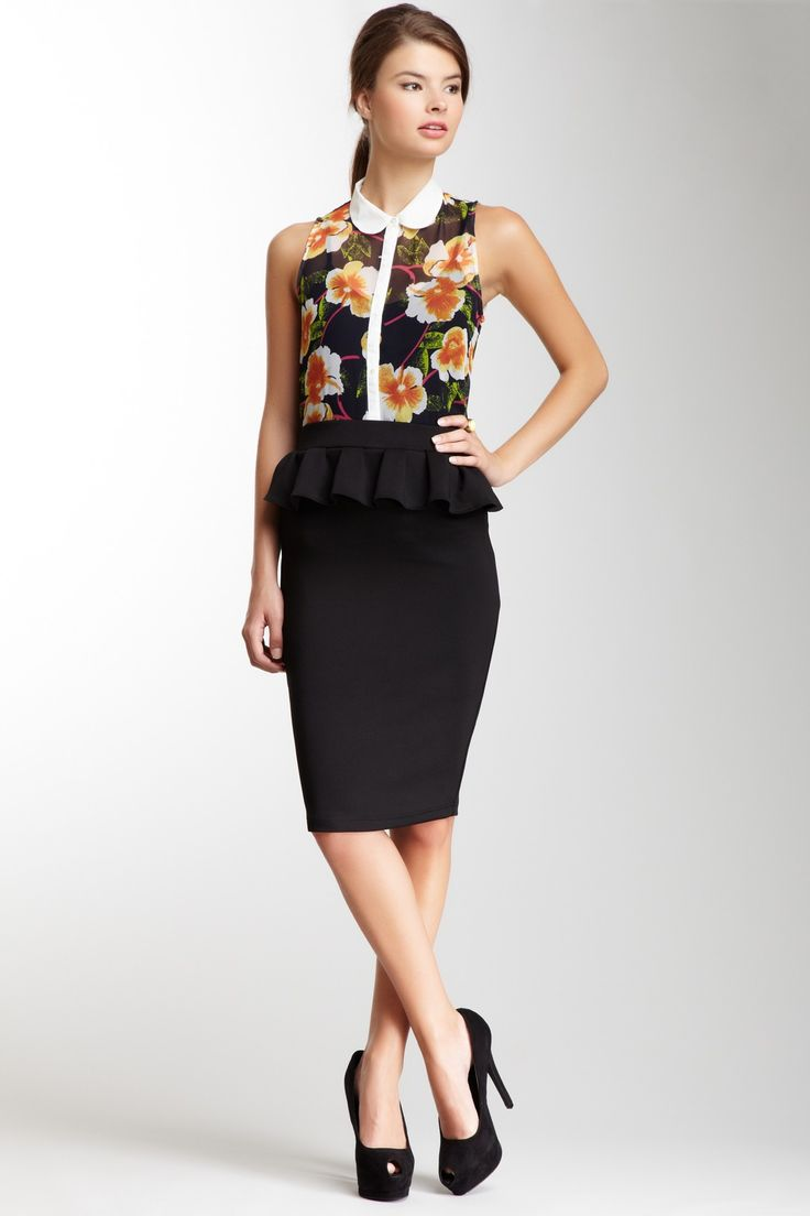 Pencil Skirt With Ruffle 90