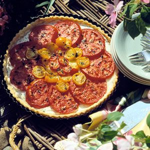 ... tart, arrange tomato slices on top of a ricotta cheese filling and