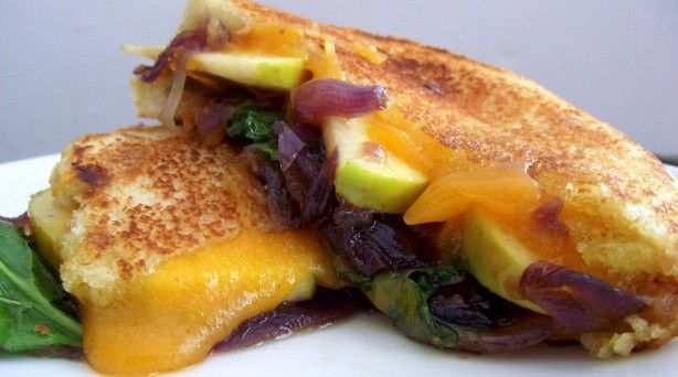 Apple, Kale & Cheddar Melt with Red Onion-Rosemary Marmalade