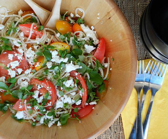 Heirloom & Cherry Tomatoes with Quinoa Pasta, Basil and Feta via ...