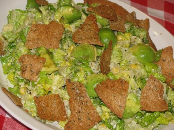 Caesar Salad with Avocado and Rustic Chips- 185 calories « Lose ...