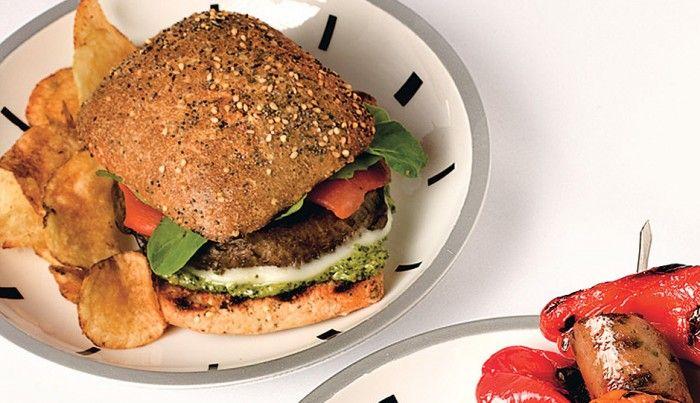 Portobello Burgers with Pesto, Provolone, and Roasted Peppers   Recipe ...