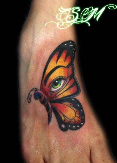 Butterfly eye tattoo by steve murzin the beauty mark for Beauty mark tattoo