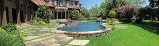 semi inground pool | Tavern landscape ideas | Pinterest