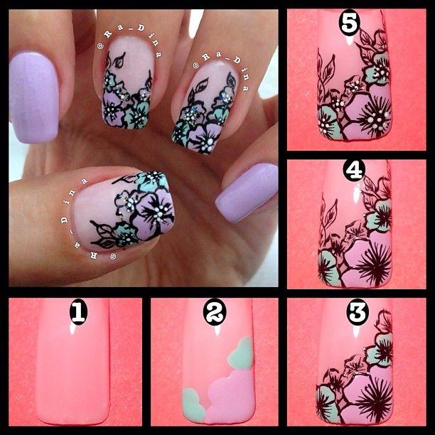 Ногти с цветами схема
