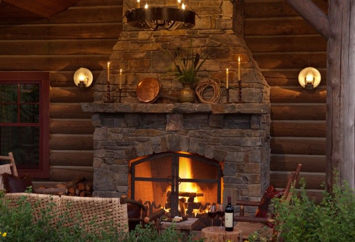 Indoor Outdoor Fireplace Cabin Fever Pinterest