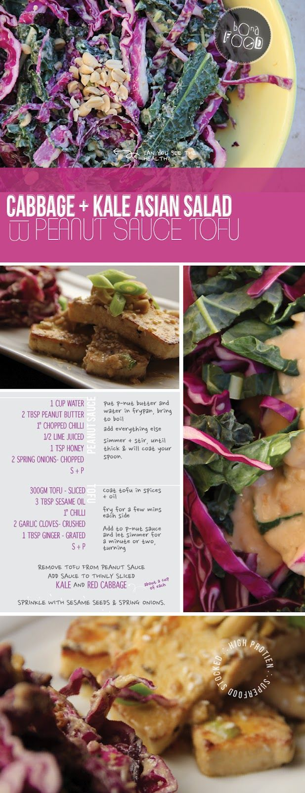 bona food: Cabbage + Kale Asian Salad with Peanut Sauce Tofu