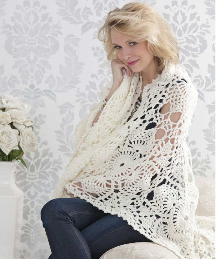 Perfect for when you need a little warmth, this beautiful lacy throw is made in just one piece. It is joined as you crochet the last round of the motifs. It adds softness and texture to your bedroom or living areas.