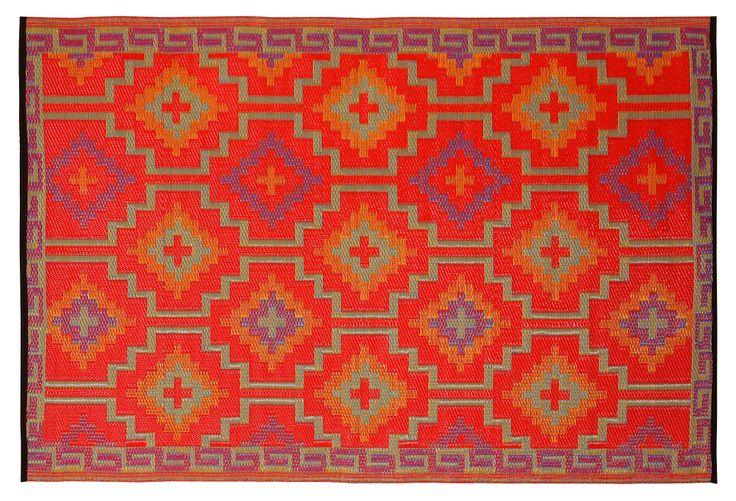 Lhasa Plastic Outdoor Rug Orange