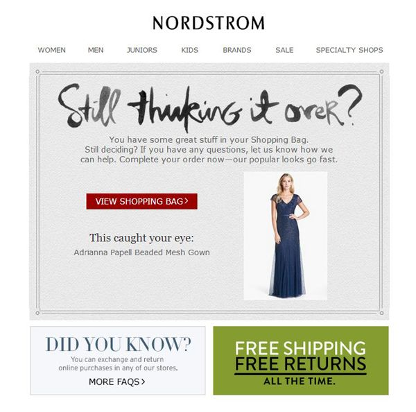 NORDSTROM abandoned cart email