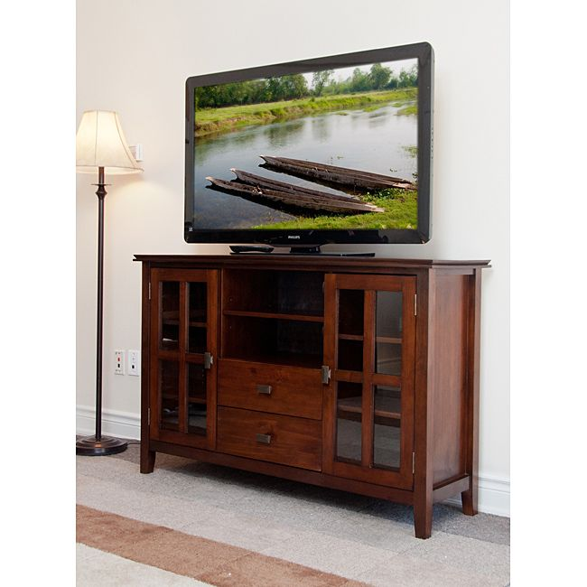Stratford auburn brown tall tv stand for Tall tv stands for living room