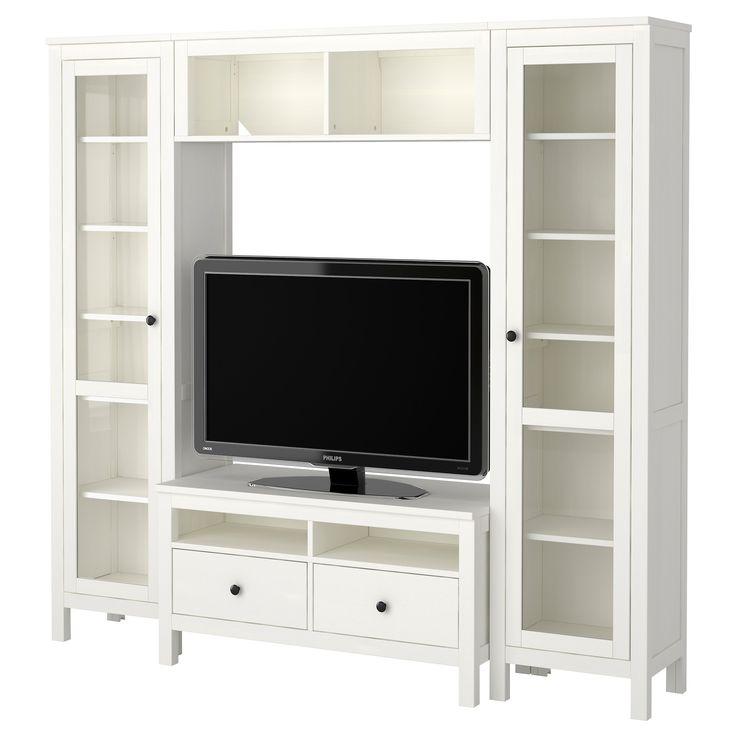 Playroom} HEMNES TV storage combination, with glass doors white $