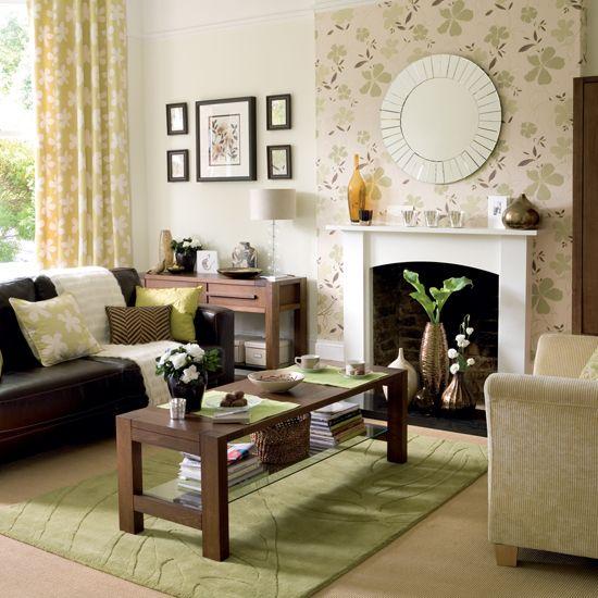 Fireplace accent wall using wallpaper windows drapes for Fireplace accent wall