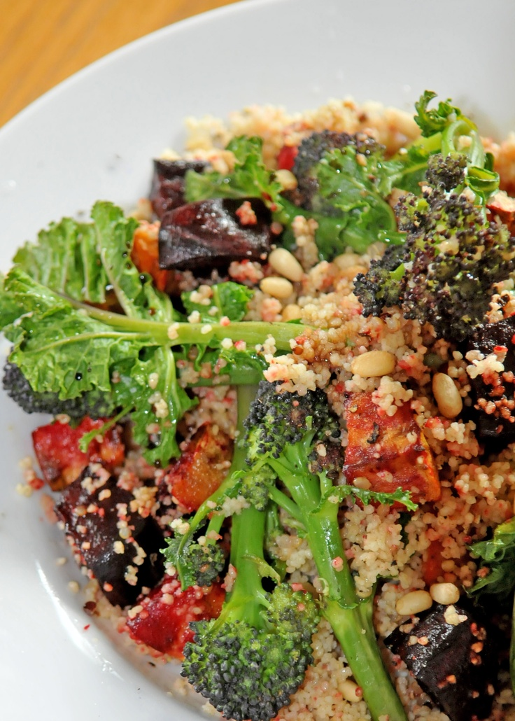... beetroot, sweet potato couscous with purple sprouting & pine nuts