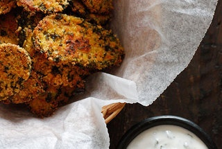 "Oven ""Fried"" Pickles with Skinny Herb Buttermilk Ranch Dip — Recipe..."