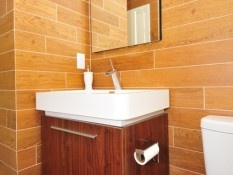 Try using Florida Tile's Berkshire HDP wood look porcelain to get this look!