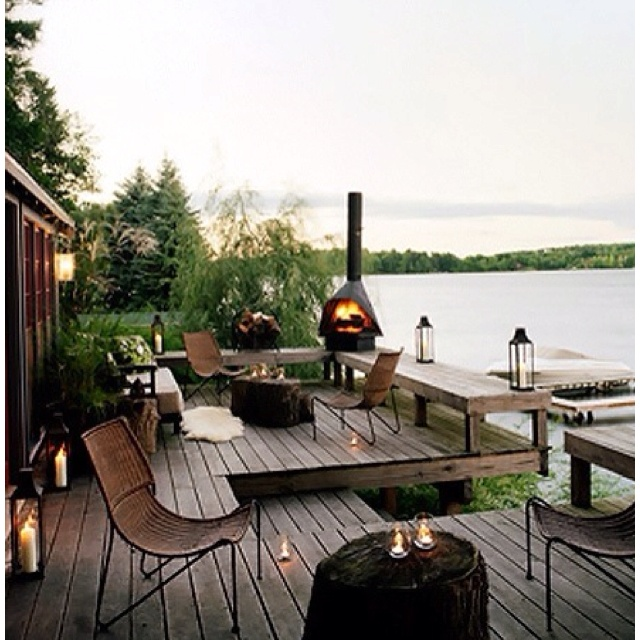 lakeside deck cottage pinterest