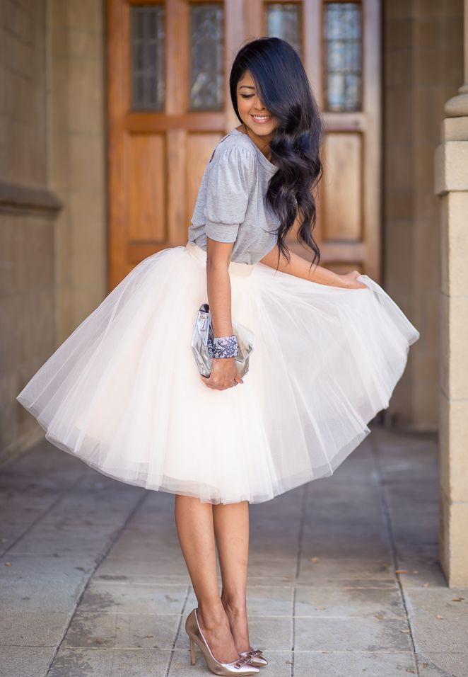Tulle skirt with neutral sweater and heels. I'd wear a fitted sweater though. Suits my figure more.