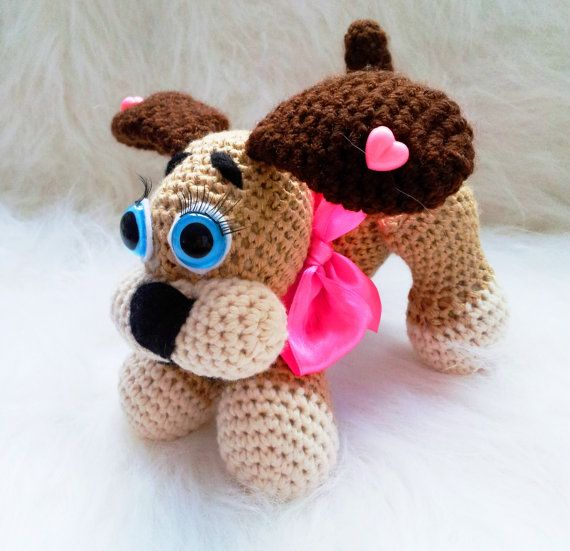 Crochet Patterns Dog Toys : Crochet dog puppy toy pattern stuffed animal amigurumi handmade gift ...