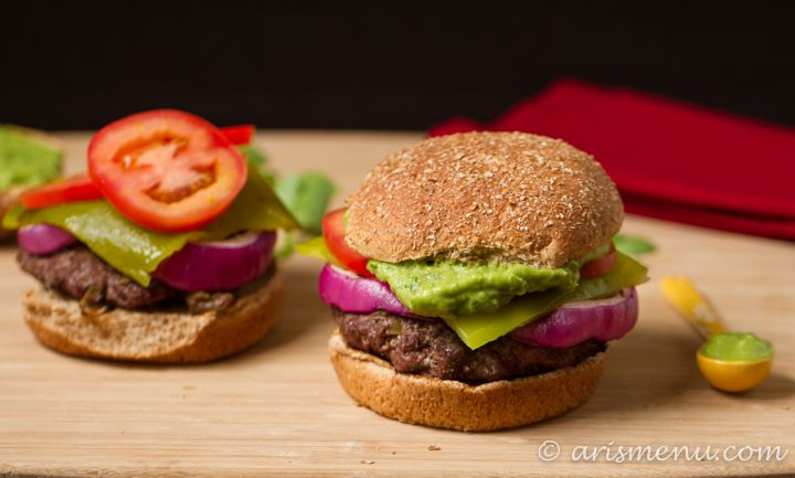 Spicy green chile and guacamole burgers.