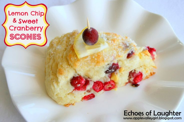 Lemon chip & sweet cranberry scones. Made with lemon flavoured baking ...