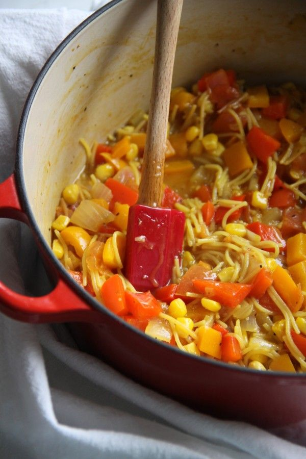 Fideous with Chicken Sausage, Shrimp. Saffron, and Peppers   Recipe