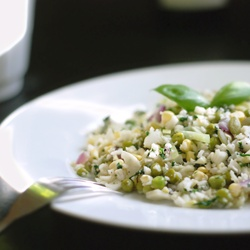 """Green Peas and Corn with Cauliflower """"Rice"""" #HealthyAperture"""