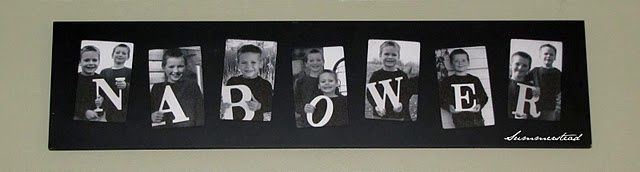 Photos of kids holding letters spelling out last name. Great gift for grandparents - trust me, they'll LOVE it!