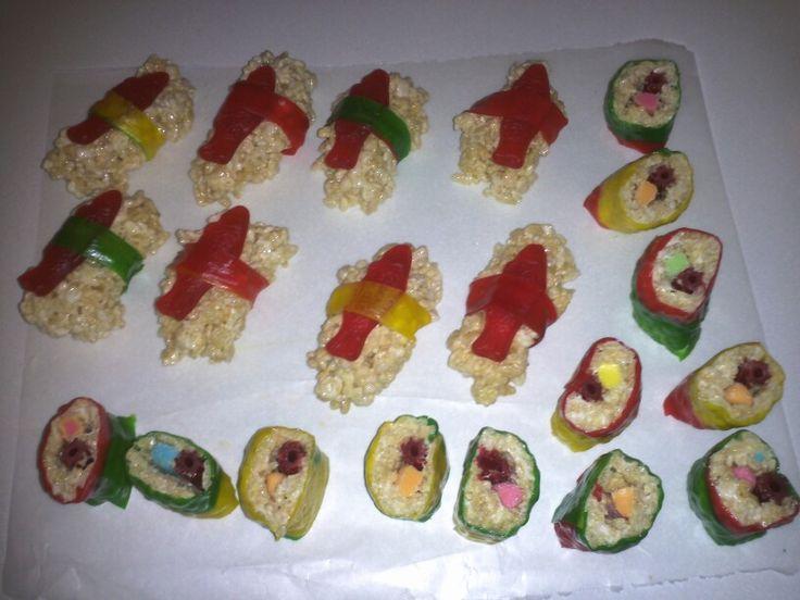 Rice Krispie sushi | Kiddo Treats | Pinterest
