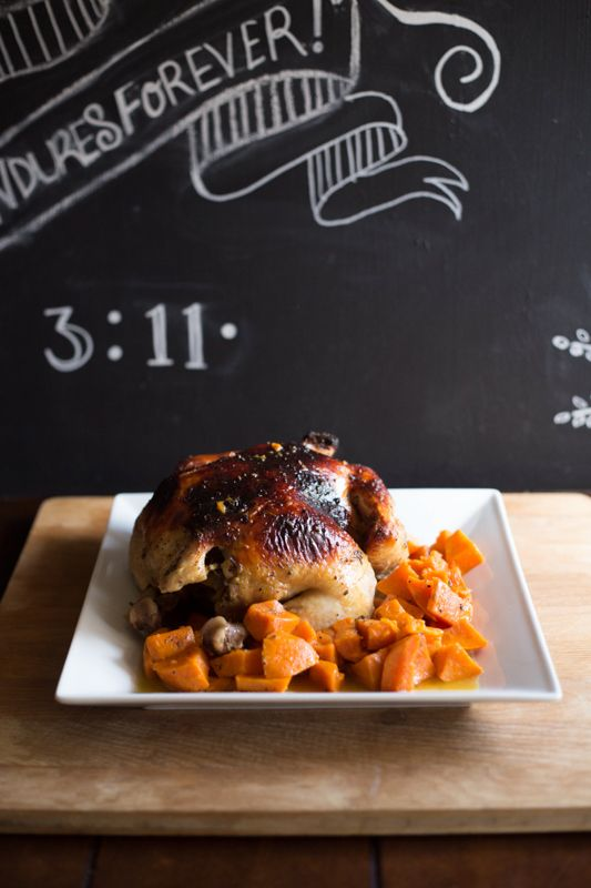oven roasted chicken w/orange wheat beer & sweet potatoes