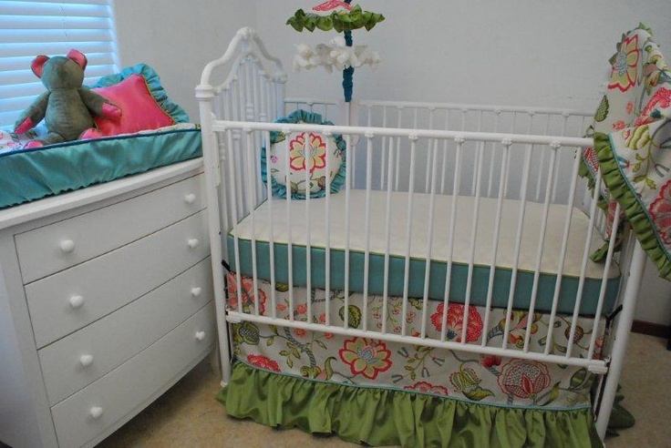 Pink and blue crib