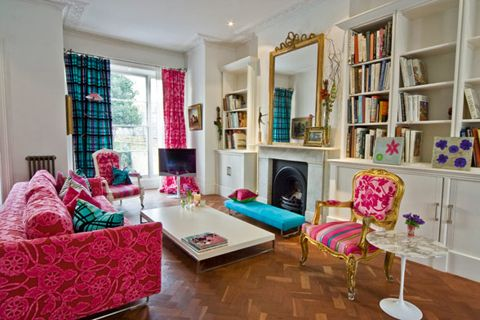 Living room gold turq pink love house inspiration - Pink and gold living room ...