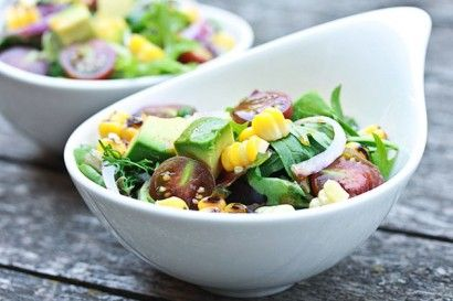 Grilled Corn Avocado Salad with Smoky Paprika Vinaigrette | Recipe