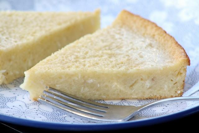 piece of cassava cake, a Filipino dessert made from shredded cassava ...