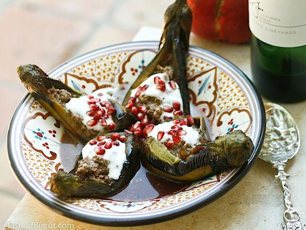 Eggplants in Pomegranate and Walnut Sauce from tasteofbeirut.com