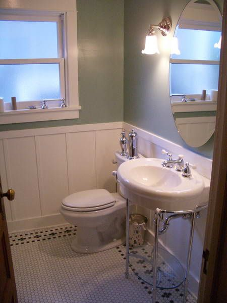 Wainscoting example craftsman bath 2nd bathroom pinterest for Examples of wainscoting