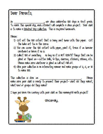100th day of school homework letter