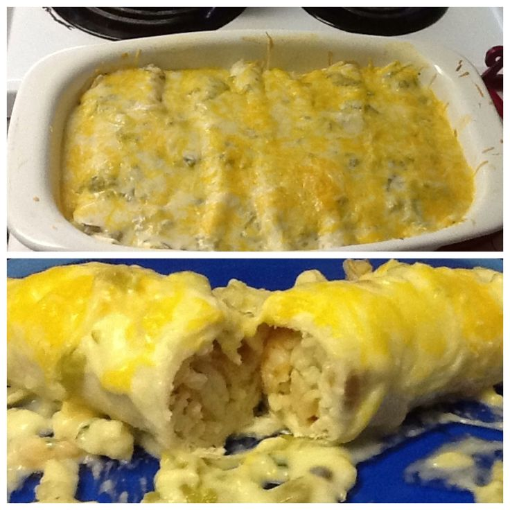 Roasted Shrimp Enchiladas, with a Green Chile Cream Sauce. It's what'...