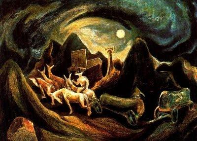 """""""Hacia el Oeste"""" (1939) JACKSON POLLOCK (1912- 1956), artista EXPRESIONISTA estadounidense que durante la década de los 30, se dedica a recorrer el país pintando paisajes. Éste en concreto, representa la marcha de su familia desde Cody (Wyomin), donde nació, a Arizona y más tarde a California."""