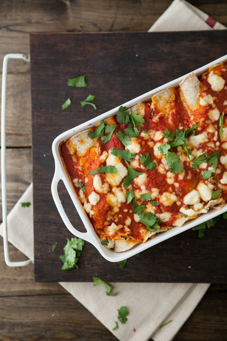 Roasted Corn and Ricotta Enchiladas + Chipotle Tomato Sauce.